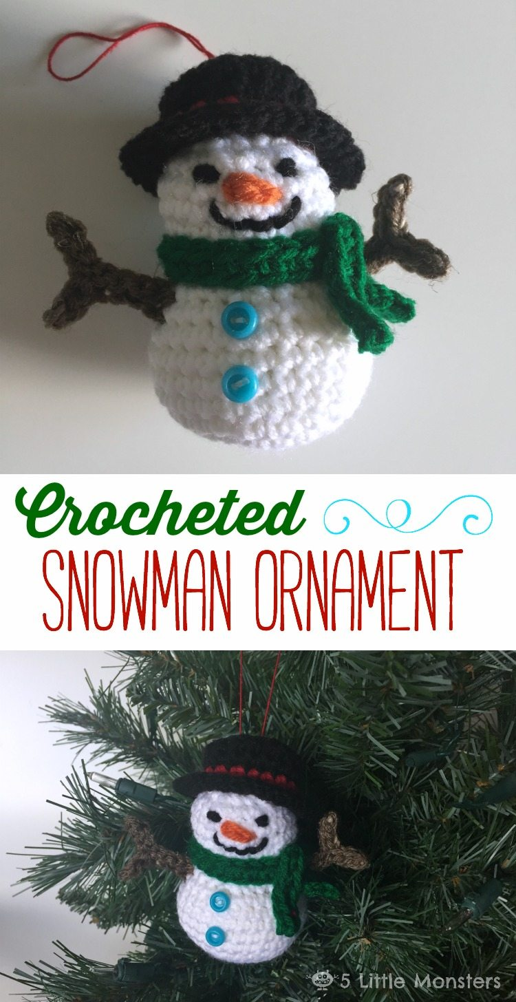 Create this adorable crocheted snowman ornament for your tree with this step by step tutorial.