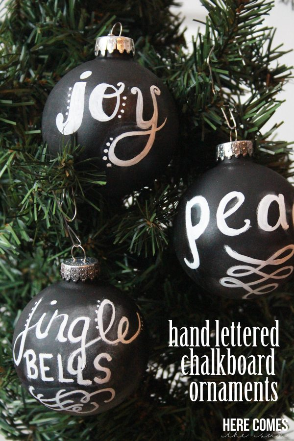 Hand Lettered Chalkboard Ornaments! So beautiful on your tree.