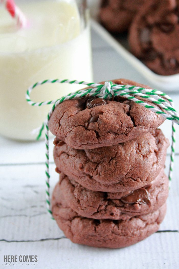 Make these mint chocolate chip pudding cookies for your holiday cookie exchange with this easy recipe!