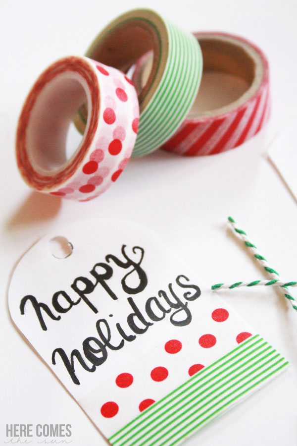 Create fun washi tape Christmas gift tags!