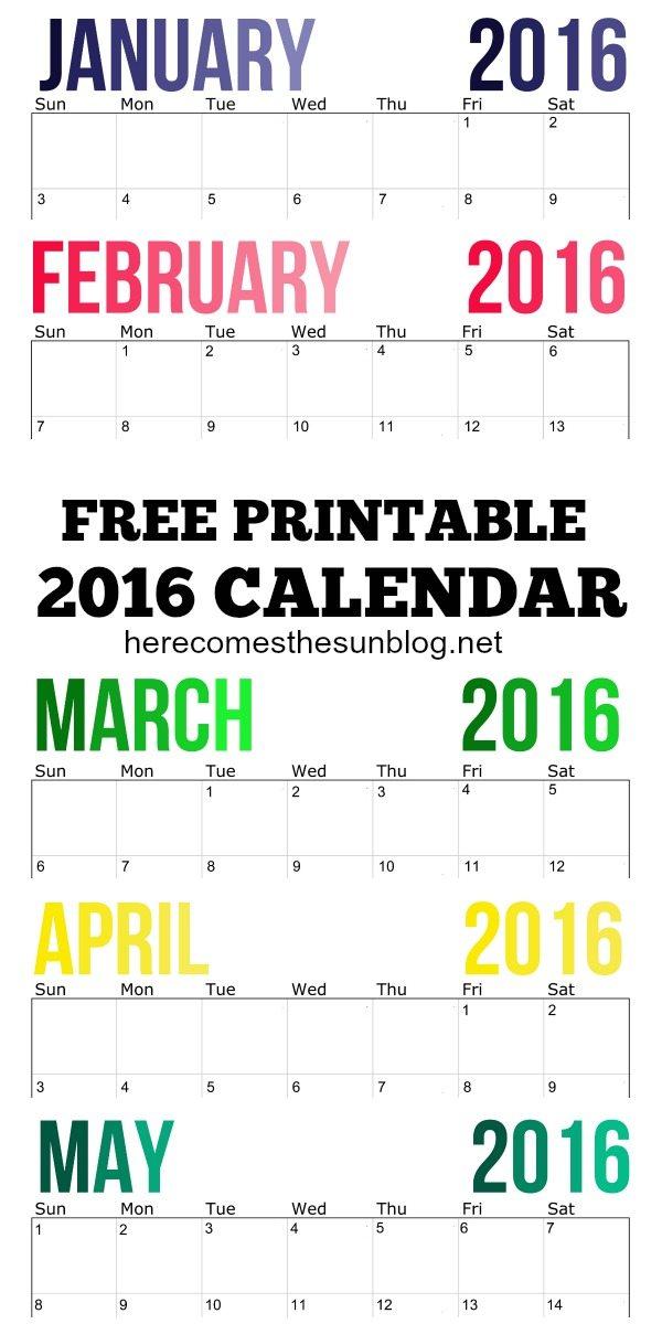 2016 Calendar Free Printable title