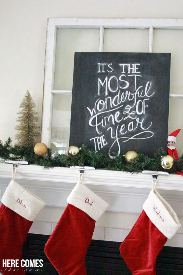 Hand lettered Christmas chalkboard art adds a special touch to any holiday decor!