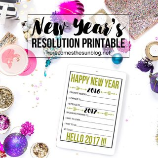 This New Year's Resolution Printable is perfect for your New Year's Eve Party! Print out a bunch and have your guests record their memories and goals.