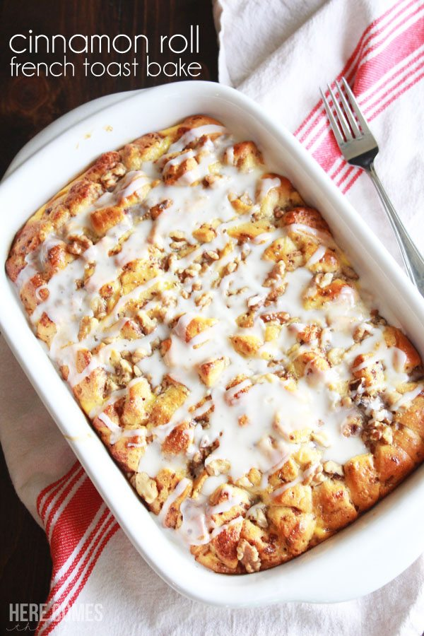 Cinnamon Roll French Toast Bake - easy to make for breakfast and the perfect meal for Christmas morning! Sponsored by General Mills