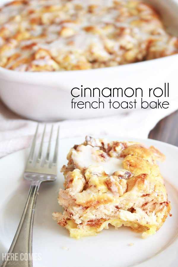 Cinnamon Roll French Toast Bake - per easy to make for breakfast and the perfect meal for Christmas morning!