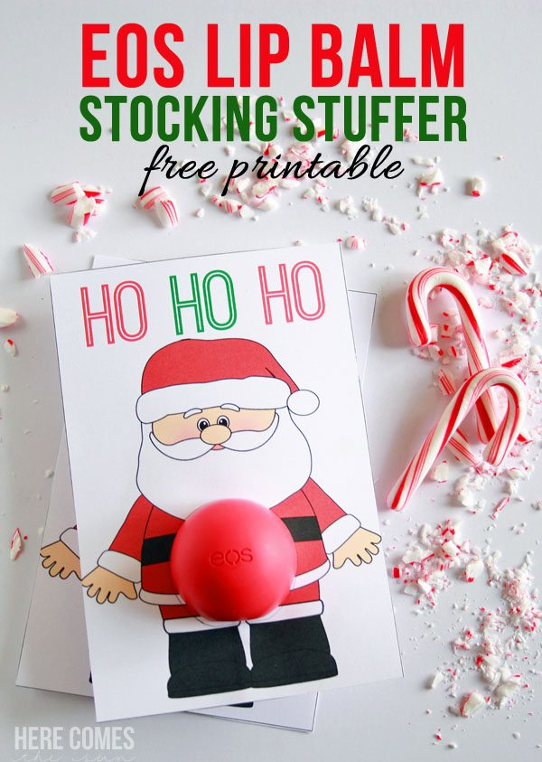Use a free printable with EOS lip balm and create an cute Santa EOS lip balm stocking stuffer!