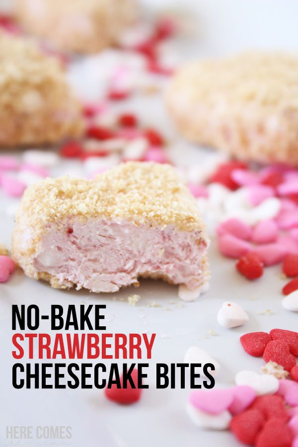 No-Bake Strawberry Cheesecake Bites! These are so easy to make and taste amazing!