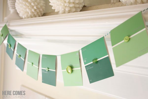 Create this adorable paint chip banner in only 5 minutes! Perfect party decor!