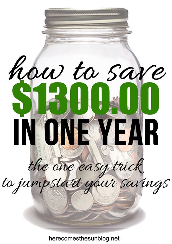 Learn the easy way to save money! Save $1300 in one year with this easy tip! Comes with free printable! I'm definitely going to try this.