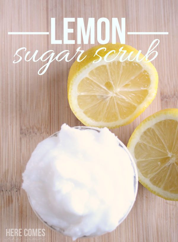 This lemon sugar scrub will melt away all the worries of your day. Find the easy recipe at www.herecomesthesunblog.net
