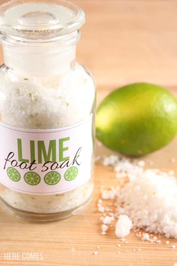 Lime foot soak smells AMAZING and is the perfect solution to tired achy feet.