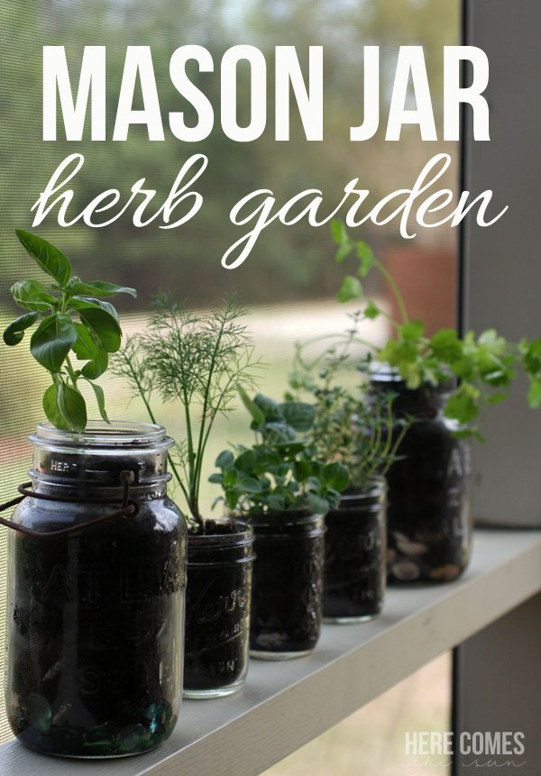 Mason Jar Herb Garden... I love this idea because I can have a garden even though I don't have much outdoor space!