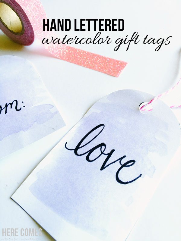 Hand lettered watercolor gift tags are the perfect touch for any gift. Learn how to make them with this easy tutorial at herecomesthesunblog.net