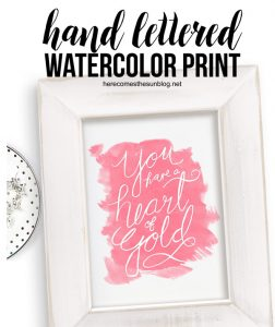 Hand Lettered Watercolor Print