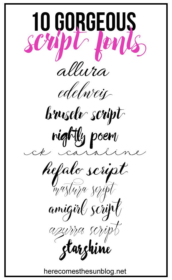 These gorgeous script fonts add the perfect touch to any project. Links to download them found at herecomesthesunblog.net
