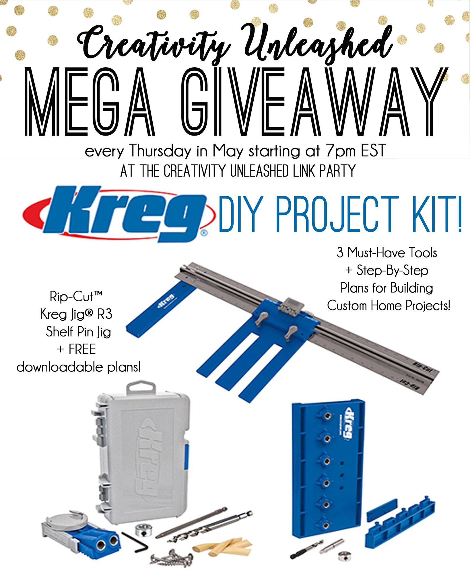 Creativity unleashed link party 120 and kreg giveaway here comes diy project kit from kreg 13122923102099335248011138196919258479916280o solutioingenieria Images