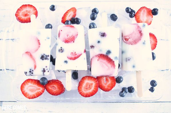 These red white and blue berry popsicles are perfect the summer treat! Easy to make with only 5 ingredients.