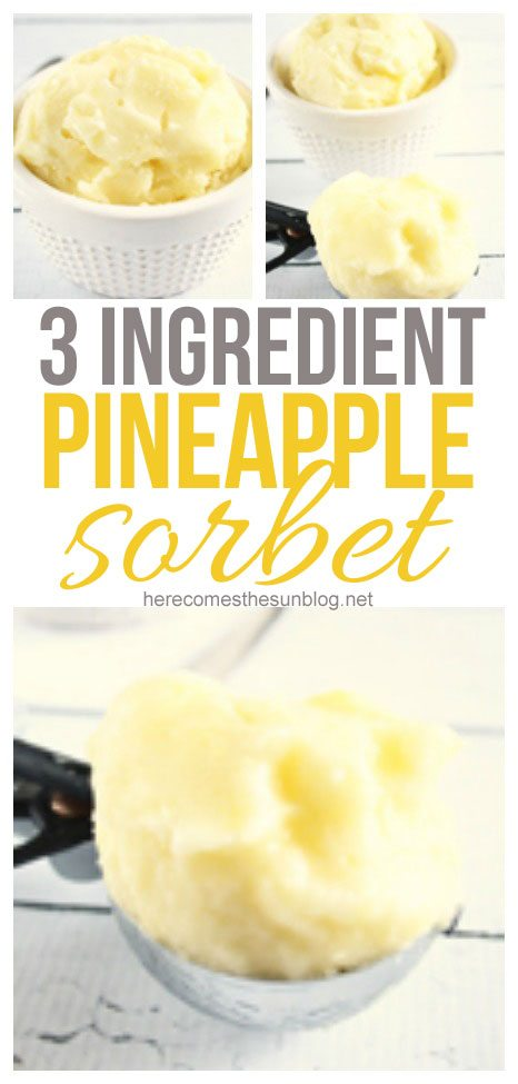 This 3 ingredient pineapple sorbet is so easy to make and so delicious!