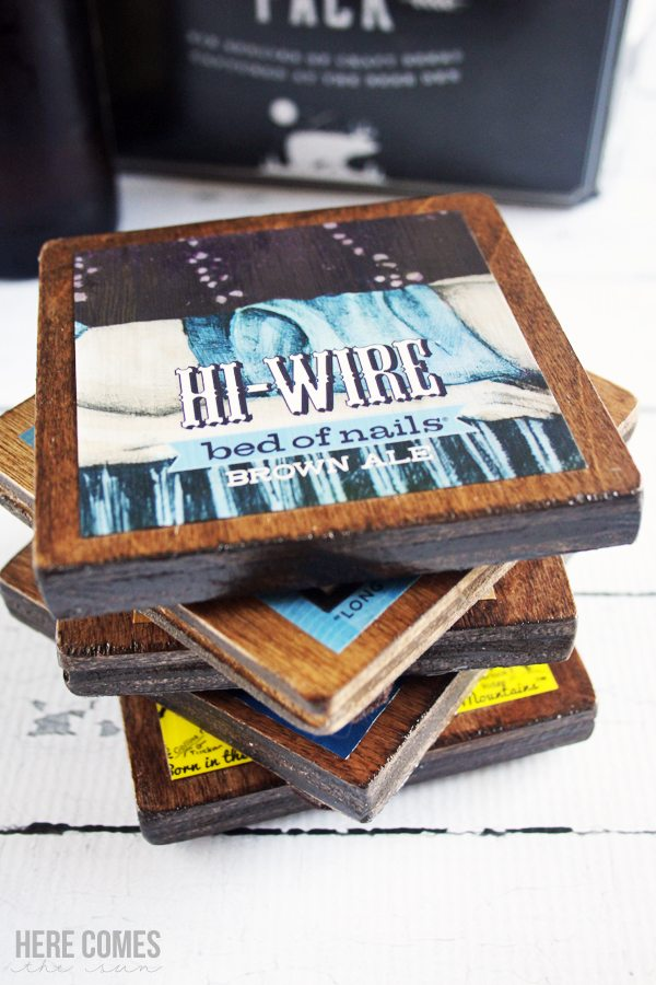 Make your own beer label coasters! These make the perfect gift!