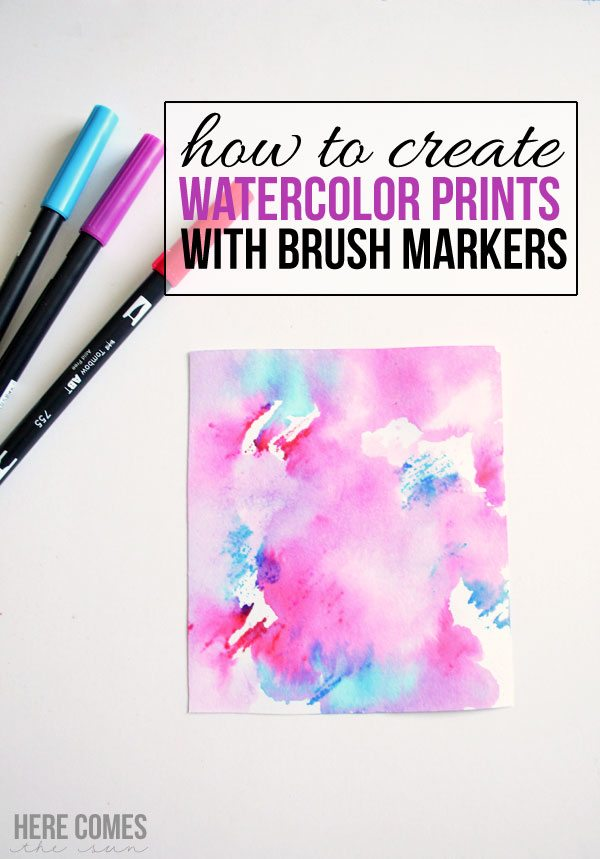 Create watercolor prints with brush markers!