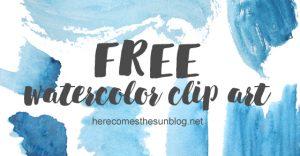 Free Watercolor Clip Art – Blue Hues