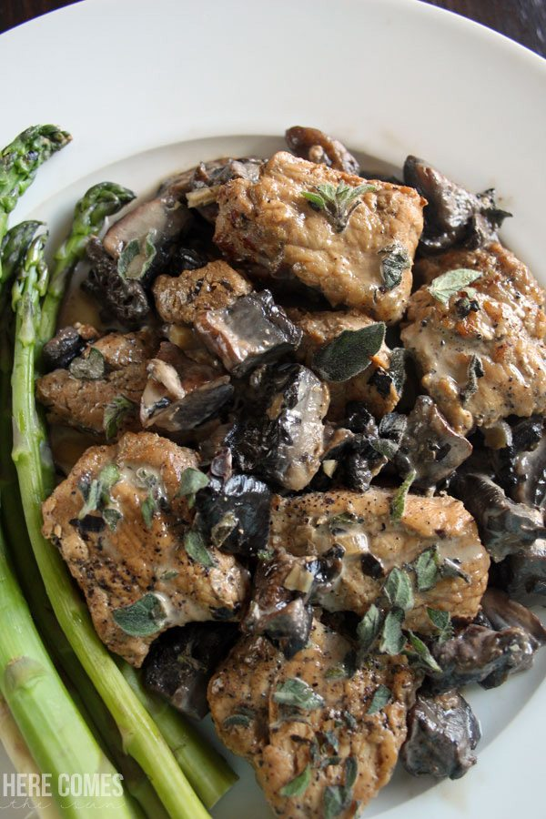 This pork loin with balsamic portobello mushroom sauce only takes 30 minutes to make and is perfect for busy weeknight dinners!