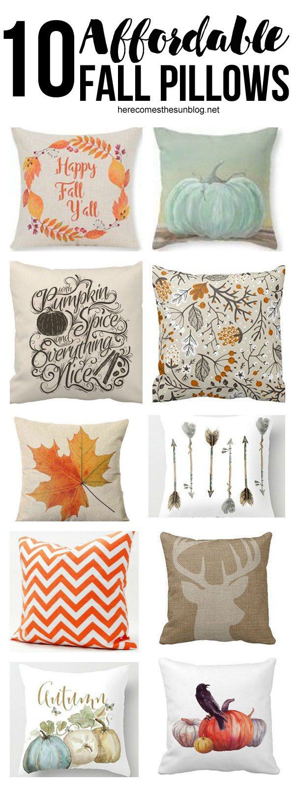 All of these beautiful Fall pillows are under $15! An amazing list of pillow decor from Here Comes the Sun