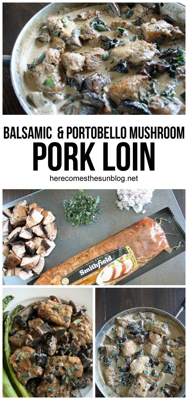 This pork loin with creamy balsamic mushroom sauce only takes 30 minutes to make and is perfect for busy weeknight dinners!