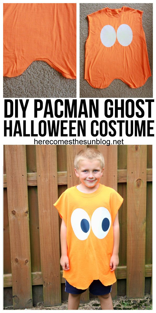 This Pacman Ghost Halloween costume can be put together in 15 minutes! Such a great idea and easy too!