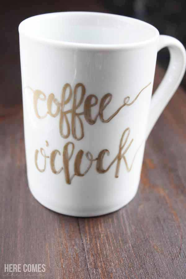 Create a unique hand lettered mug with this easy to follow tutorial! You'll never believe how simple it is!