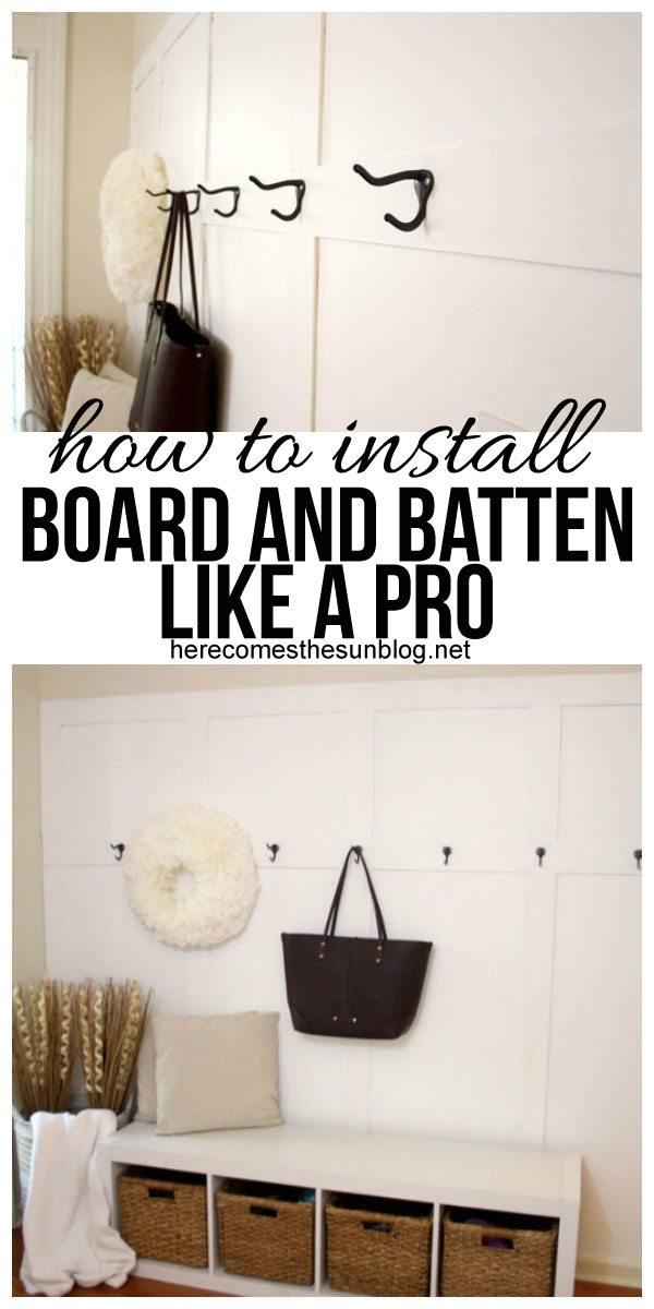 Learn how to install board and batten and turn your entryway into a functional space!