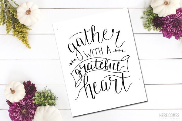 Get the beautiful hand lettered Thanksgiving print for free. Click here to get more details and to download!