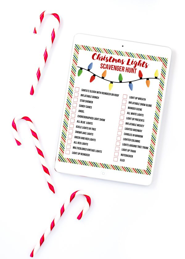 I LOVE this printable Christmas Lights scavenger hunt. Such a great idea and the perfect new tradition for our family!