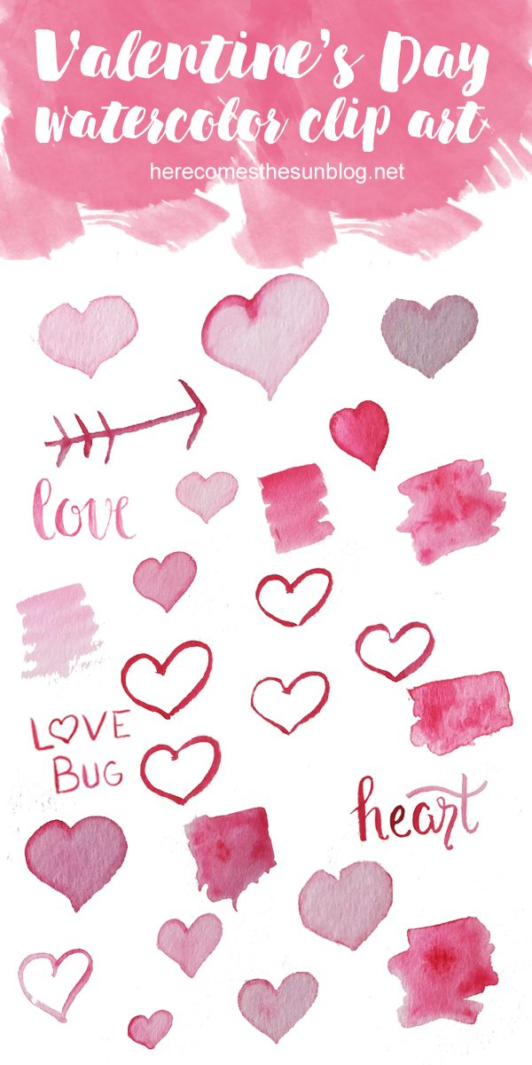 This Valentine's Day watercolor clip art is perfect to use for all your Valentine's Day projects!