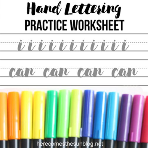 Hand Lettering Practice Worksheet – I Can Do Hard Things