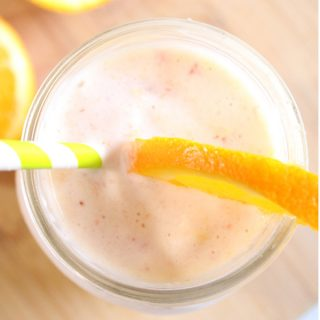 This healthy tropical fruit smoothie only contains 5 ingredients and is loaded with Vitamin C!