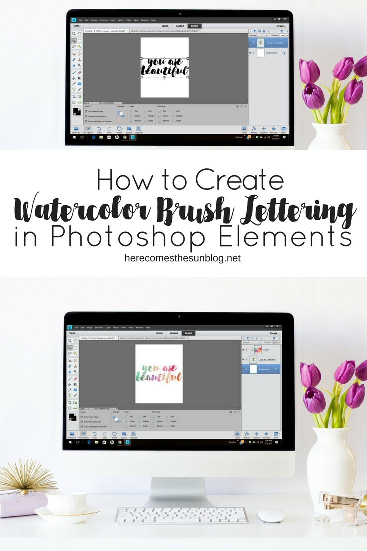 watercolor brush lettering with Photoshop Elements