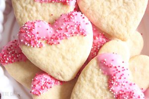 Chocolate Dipped Valentine Sugar Cookies