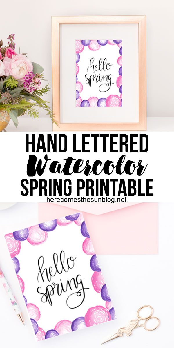This hand lettered watercolor spring printable will look so beautiful displayed on your home!
