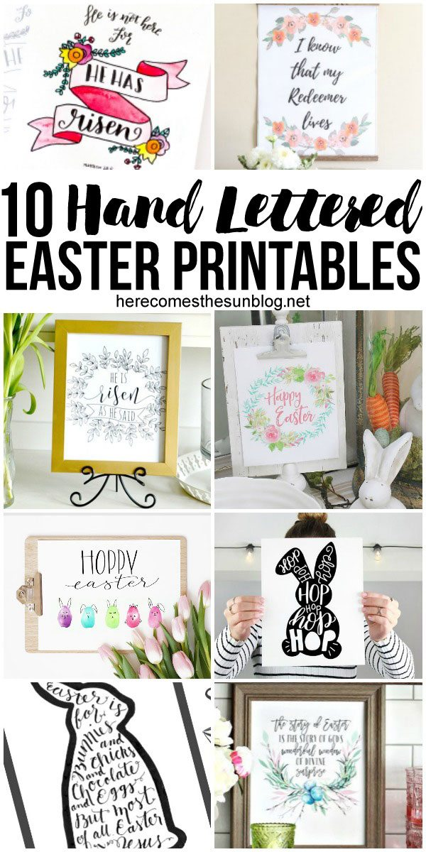 These adorable hand lettered Easter printables make decorating easy!
