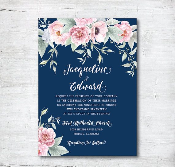 navy and blush invitation - Summer Wedding Invitations
