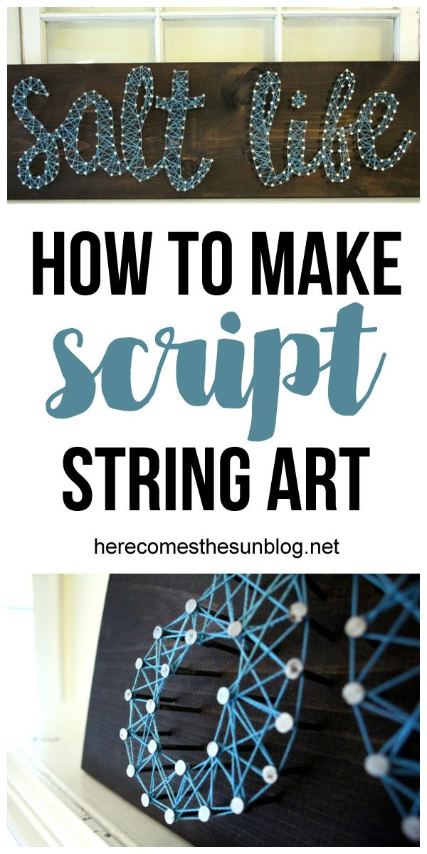 Script string art is easy to create and makes a great statement piece!