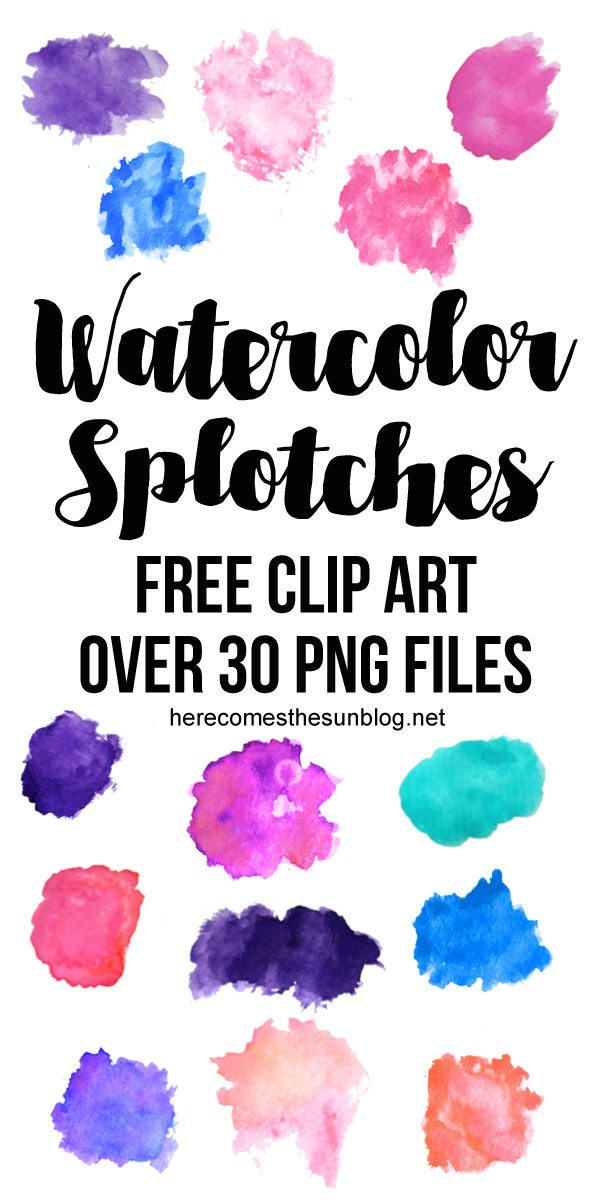 This watercolor splotches clip art collection is so beautiful!