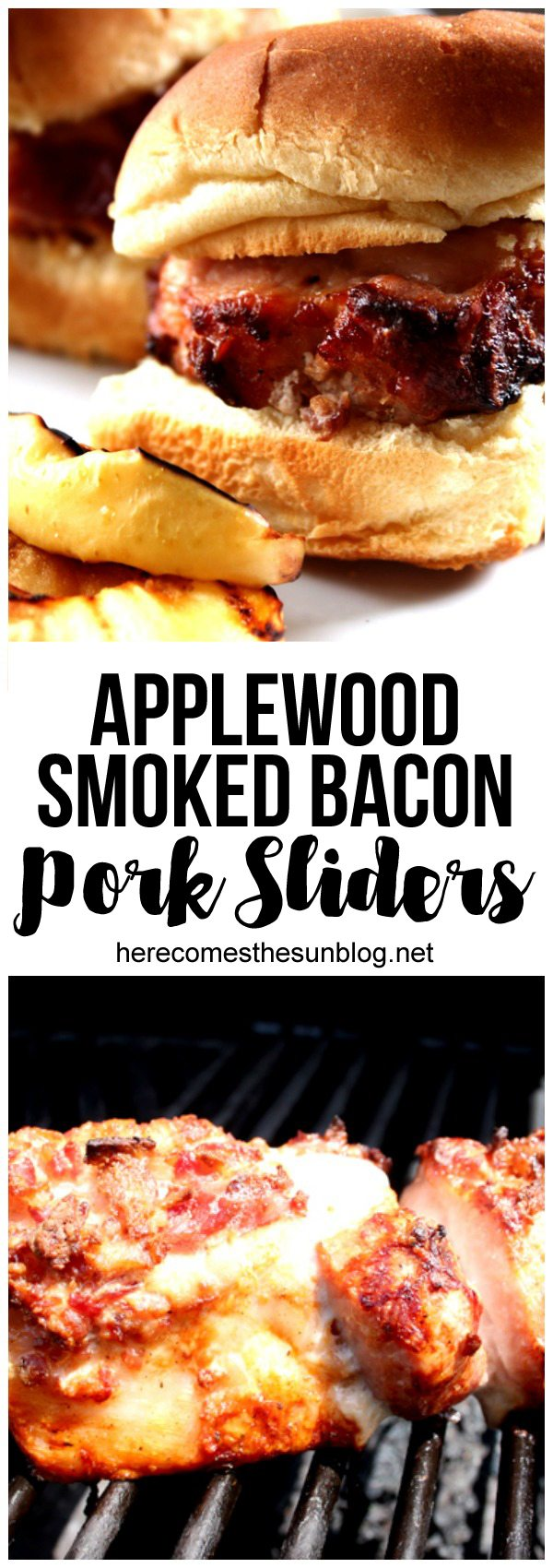 These applewood smoked bacon pork sliders make the perfect weeknight meal. They only take 30 minutes to cook!