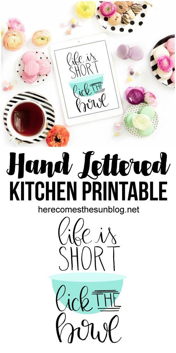 hand lettered kitchen printable