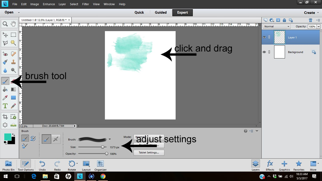 Learn how to use the brush tool in Photoshop Elements