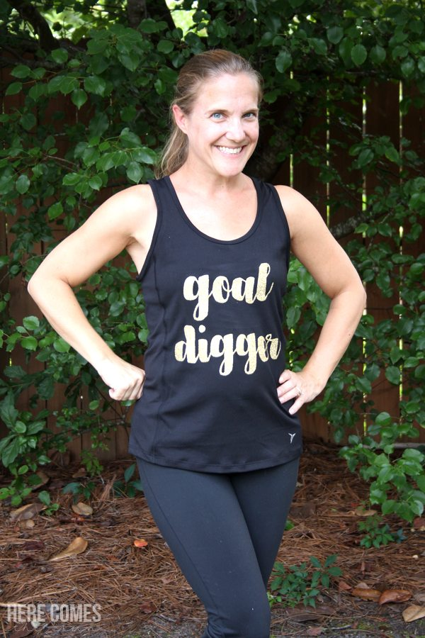 Learn how to make this amazing DIY workout tank with heat transfer vinyl! Such an easy way to personalize a shirt.
