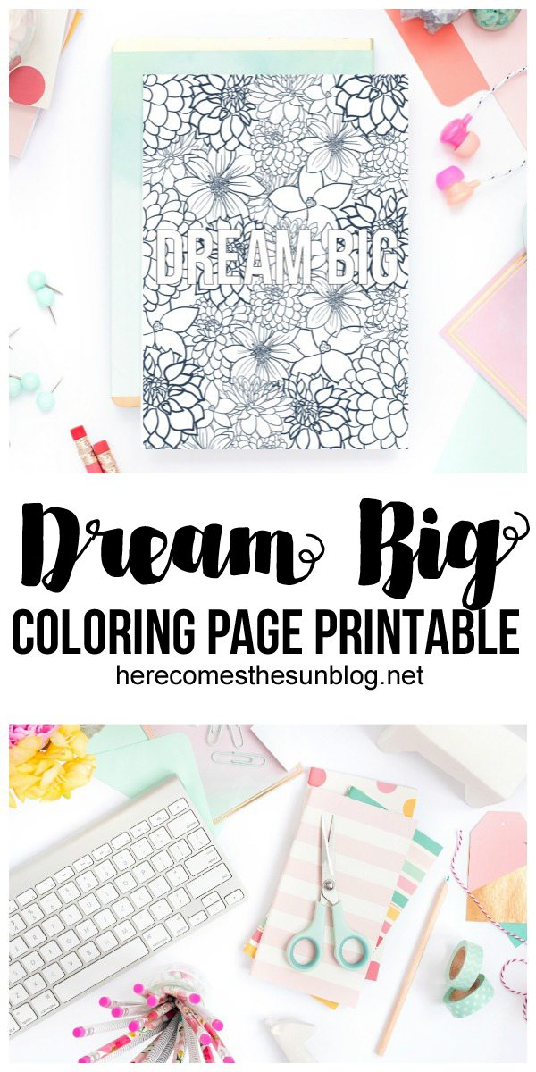 This DREAM BIG coloring page printable is perfect for back-to-school or any other time. Display it in a locker, over your desk or anywhere else!