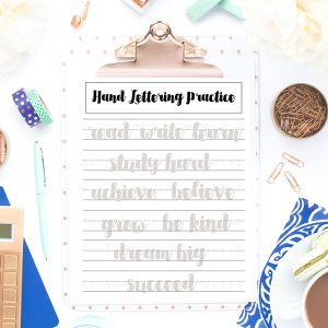 Back to School Themed Hand Lettering Practice Sheets