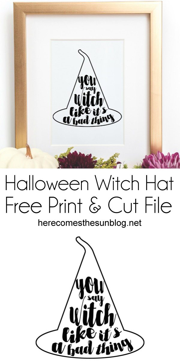 This Halloween witch hat print is super cute and perfect for your Halloween decor. It also comes as a cut file in SVG and Studio3 format.